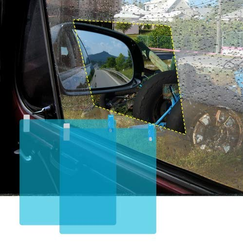 NZNNXN 2 STÜCKE Autoseitenscheibe Schutzfolie blendfrei Wasserdicht Anti Fog Membran Regen Auto Aufkleber Klar Film - Klare Membran