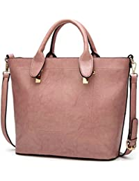 Women Top Handle Handbags Leather Satchel Shoulder Bags Urban Style Tote Purse Pink By Melord