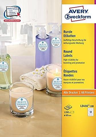 Avery Zweckform L3416-100 Paquet de 100 feuilles d'étiquettes à CD Ø 60 (Import Allemagne)
