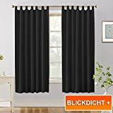 "Thermal Top Tab Blackout Window Curtains - PONY DANCE Light Blocking Blackout Curtain Panels Window Treatments Soft Solid Drapes Energy Saving for Living Room, 2 Pcs, Wide 55"" x Long 68"", Black"