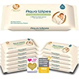 Toallitas higiénicas Aqua Wipes, (Caja de 12 paquetes (Toallitas 768 en total)), 100% biodegradable, vegana, plástica y sin parabenos, 99.6% de agua purificada