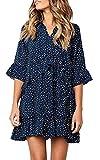 ECOWISH Damen Kleid V Ausschnitt Rüschen Punkte Sommerkleider Halbarm Mini Strandkleider Casual Lose T-Shirt Kleid Navy blau XL