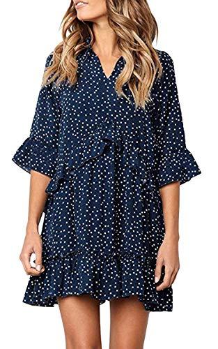 ECOWISH Damen Kleid V Ausschnitt Rüschen Punkte Sommerkleider Halbarm Mini Strandkleider Casual Lose T-Shirt Kleid Navy Blau XXL (Asymmetrisches T-shirt-kleid)