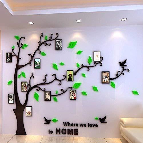 Shrinkable Acryl Wandaufkleber Wand Sticker mit Abnehmbar Zweigen und Bilderrahmen (3D Baum Schwarz)