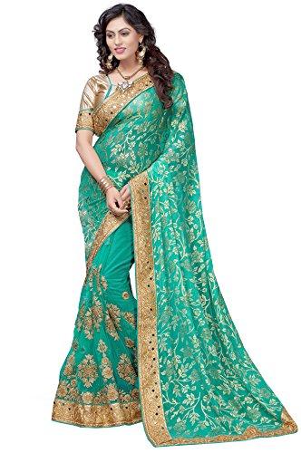 Panash Trends Women's Brasso & Net Heavy Work Half & Half Saree(UJJ.K667A_Turquoise...