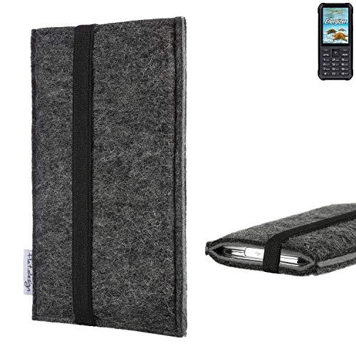 flat.design Handyhülle Lagoa für Energizer H20 | Farbe: anthrazit/grau | Smartphone-Tasche aus Filz | Handy Schutzhülle| Handytasche Made in Germany