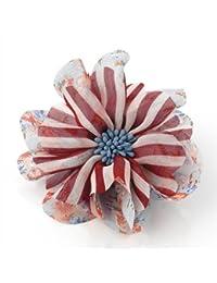 Blue / Red Floral and Stripe Print Flower Hair Elastic Beak Clip Corsage Fascinator