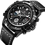 Pour homme montres Sport analogique à quartz numérique sport imperméable militaire Armée Cuir Noir montre bracelet