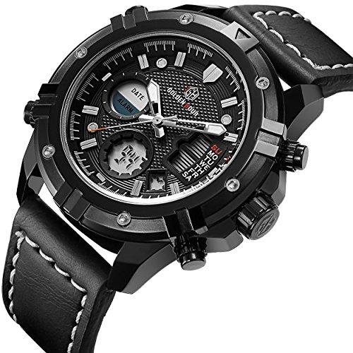 Herren Uhren Sport Analog Digital Quarz Sport wasserdicht Military Army schwarz Leder Armbanduhr