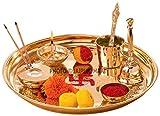 #4: Jaipuri haat Hand made Brass Puja Thali set ( 410 Gram weight, 10 Inch Diameter)