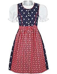Coala Mädchen Kinderdirndl geblümt blau rot mit Bluse, blau/rot,