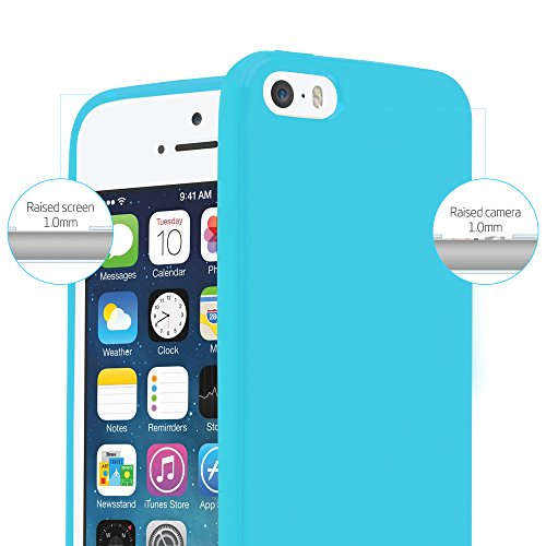 Cadorabo - TPU Ultra Slim Jelly Silikon Hülle für >            Apple iPhone 5 / 5S / SE            < - Case Cover Schutz-Hülle Bumper in JELLY-SCHWARZ JELLY-HELL-BLAU