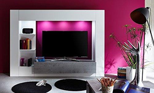 Dreams4Home Medienwand 'Laia',TV-Schrank,Wohnwand, Wohnmöbelkomibation,Schrank, Wohnzimmerschrank, Wohnzimmer (B/H/T) ca. 209 x 156 x 42 cm,weiß Glanz / grau, Beleuchtung:mit Beleuchtung
