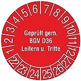 Labelident Prüfplaketten - Geprüft gem. BGV D36, Leitern und Tritte, Mehrjahresprüfplakette, Zeitraum 2022-2027, Ø 30 mm, 144 Stück, Vinylfolie rot, Aufdruck weiß