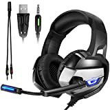 Gaming Kopfhörer - Onikuma K5 3.5mm Über-Ohr Stereo PC Gaming Headset mit Mikrofon USB LED Licht Noise Isolating Lautstärkeregler Xbox One PS4 Computer Laptop Mac Smartphone(Schwarz/Grau)