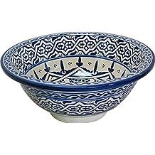 Old Fes in ceramica dipinta a mano, stile marocchino, per lavandino da bagno, rotonda, Painted inside out-cam 16 Di 40 cm, Edizione limitata,