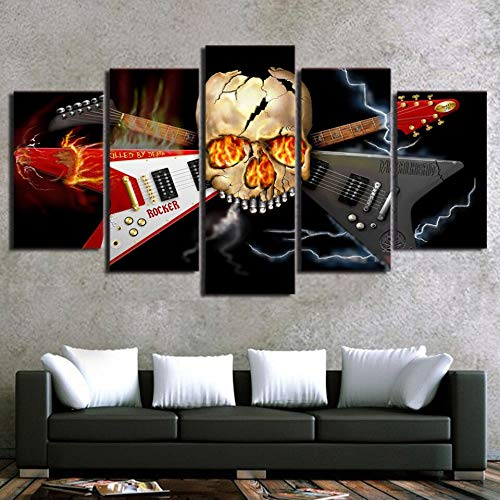 mmwin Wall Art PictureModern Living Room Decor 5 PieceAbstract Skull Musical Instrument Guitar Poster di Stampa
