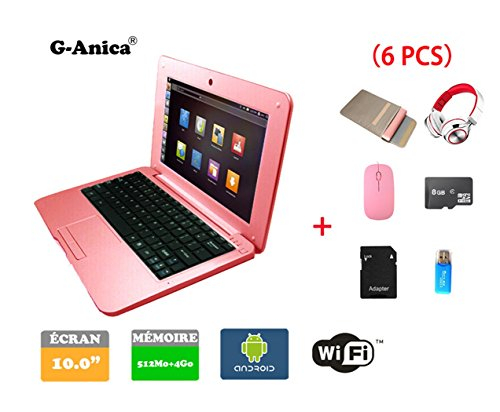 Netbook Ordinateur Portable Ultrabook Android 4.2 HDMI (WiFi-SD-MMC),Sac d'ordinateur Portable+Souris +Adapter +Carte SD+Lecteur de Carte+Casque(6 PCS Accessoires) (10 inches, Rose)