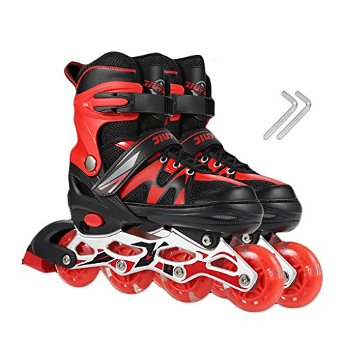 Tasten Erwachsene Schuhe (HUIQIN Rollerskates Damen, Voll Beleuchtete Rollen Erwachsene Rollschuhe Inlineskater, Geeignet Für Herren, Herren, Vier Farben (Color : Red, Size : S(EU 27 - EU 33)))