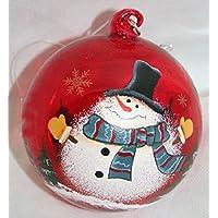 Palla di Natale rossa disegni assortiti in vetro diam.8 cm Decorazione da appendere