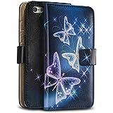 tinxi® Kunstleder Tasche für Apple iPhone 6 / 6s (4.7 zoll) Schutzhülle Tasche Flipcase Case Schale Hülle Cover Standfunktion mit Karten Slot bunte Schmetterling