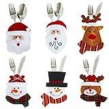 xPx Garment 6Weihnachten Schneemann & Weihnachtsmann & Deer Geschirr Sets Weihnachts Besteck Taschen Messer und Gabel Tisch Dekoration