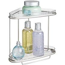 mDesign Estante esquinero para baño– Elegante estanteria de baño con dos  baldas para productos de 41ce03752d9a