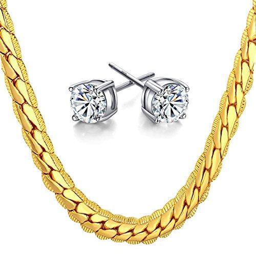 Gold Damen Halskette Edelstahl 18K Vergoldet Goldkette Herren Schmuck Geschenk Lang 20