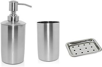 Yasha Lifestyle Stainless Steel,Corrosion or Rust Free Bath Set of 3 (Tumbler, Liquid Soap Dispenser,Soap Dish)