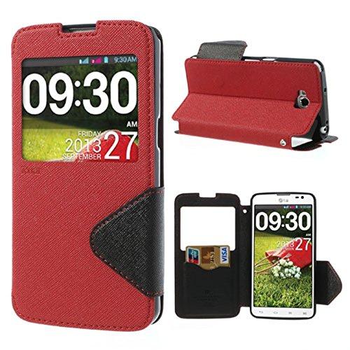 Roar Korea Fancy Diary Leather Tasche Hüllen Schutzhülle Stand w/ View Window for LG G Pro Lite D684 Dual D686 - Black / Red