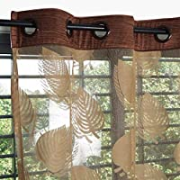 Story at Home DSH1412 Fancy Sparkling Door Window Sheer Strip Set of 2 String Beads Hanging Net Curtain, Polyester, 7ft, Light Brown