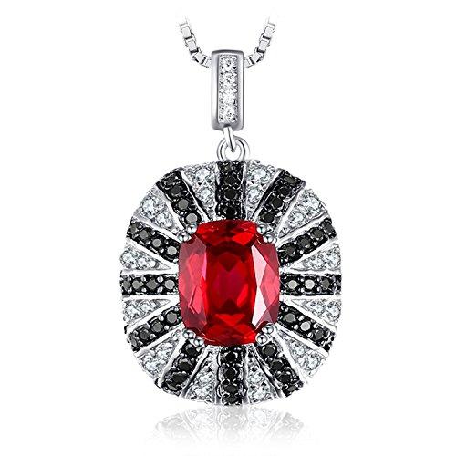 Rot Natürliche Seife (Ewelrypalace Luxury 6ct Erstellt Roter Rubin Natürliche Schwarze Spinell Solide 925 Sterling Silber Anhänger Halskette 45cm)