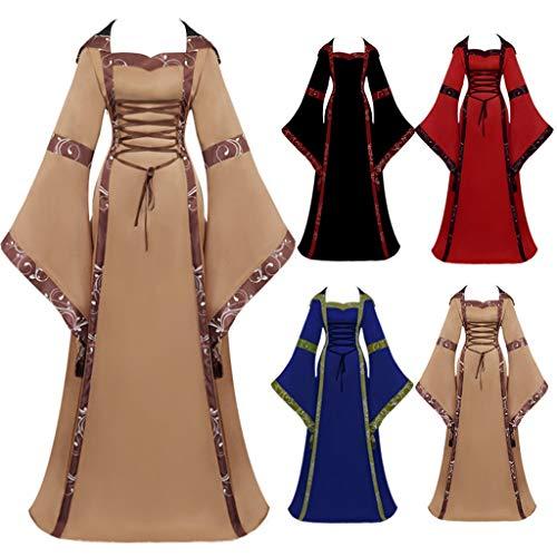 TIZUPI Festliche Kleider Damen Edle Lange Kleider Damen Jahrgang keltisch Mittelalterlich Fußboden Länge Renaissance gotisch Cosplay Kleid Halloween(Braun,XXL