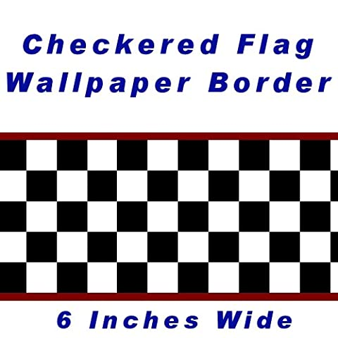 Checkered Flag Cars Nascar Wallpaper Border-6 Inch (Red Edge) by