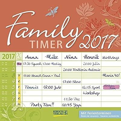 Family Timer - Floral 2017: Broschürenkalender Mit Ferienterminen