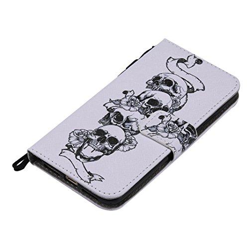 OuDu Coque iPhone X Housse Portefeuille Etui à Rabat en PU Cuir Coque Souple Ultra Mince Housse de Protection Etui Anti Choc Anti Rayure Leather Wallet Case Coque de Fonction de Supporter avec Fermetu Crâne