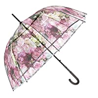 Transparent Umbrella for Women - Clear Dome Bubble Stick Brolly - with Floral Print and Silver Trim - Strong Windproof and Resistant - Diameter 89 cm - Perletti Chic
