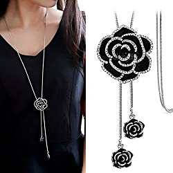 Shining Diva Fashion Jewellery Pendent for Girls with Long Chain Pendant Necklace for Women & Girls(Silver)(9279np)