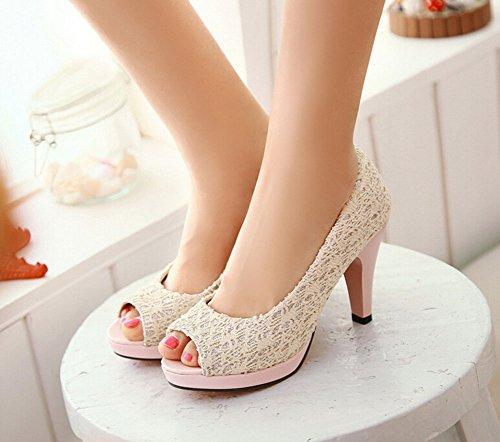 Hochwertige 2015 neue Open-Zehe-Absatz-Frauen-Pumpen Marke neue Schuhe Frauensandelholze wedding Pumpengröße 34-40.5 Beige