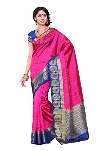 Mimosa Women's Tussar Silk Self Embouse Woven Saree with Blouse Piece -...