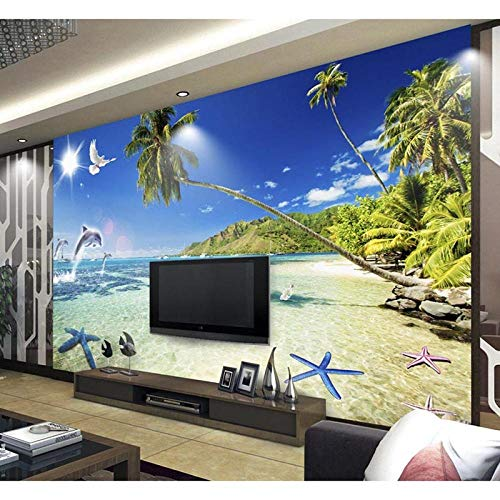 Lyqyzw 3D Wallpaper Wandbild Dekor Foto Farbe Starfish Beach Tv Hintergrund Schlafzimmer Foto Tapeten 3D Wohnzimmer Tapete 3D Malerei H Beach-tv