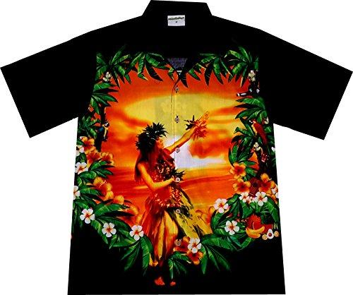 Hawaiihemd / Hawaii Hemd Hawaiian Beauty / 100 Prozent Baumwolle- Größe M, Schwarz