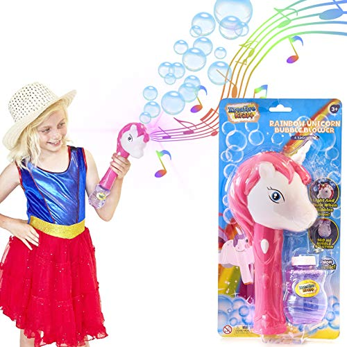 KreativeKraft Unicorn Bubble Machine Wand With Music And Light 140ml  Solution Included | Bubbles Blower | Indoor Outdoor Games For Kids | Garden  Games