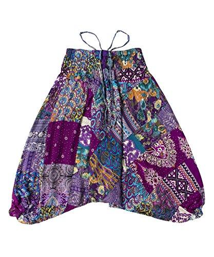 Lofbaz Kinder Patch Harem Pants - Violett - 8-9Y Kind Harem