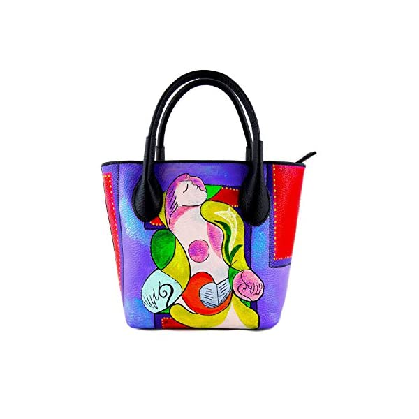Hand-painted genuine leather shoulder bag – READING MARIE THERESE BY PICASSO - Women Bag, Hand Bag, Genuine Leather, Made in Italy, Painted Leather, Handbag and Shoulder Bag, Craftsmanship - handmade-bags