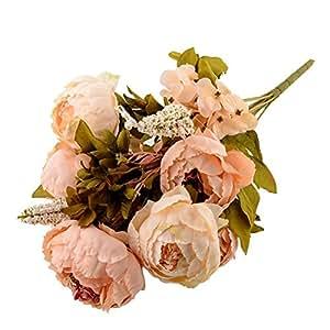 Soledì-1 Mazzo 8 Peonie Peonia Fiori Artificiali Piante Fioritura in Seta Bouquet (Rosa Chiara)