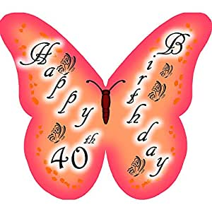 Happy 40th Birthday Butterfly edible wafer cake decorations / cupcake toppers - pack of 12 by CDA Products Ltd 201-561