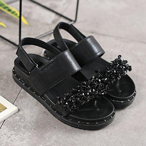 XY&GKFür Frauen ein Schüler Sandalen Sandalen Dicke Weiche unten Frauen All-Match Retro Schuhe 39 black