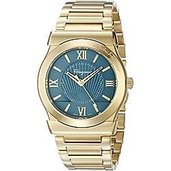 Salvatore Ferragamo Men's 'Vega' Quartz Stainless Steel Casual Watch, Color:Gold-Toned (Model: FI0040015)
