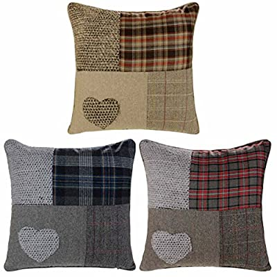 """Ideal Textiles, Patchwork Heart Cushion Covers, Wool Blend Cushions, Embroidered Tartan Check, Pillow Covers, 18"""" x 18"""", 45cm x 45cm - low-cost UK light shop."""
